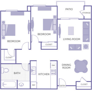 2 bed 1 bath floor plan, kitchen, dining room, living room, patio and storage, 1 walk-in closet, 2 closets