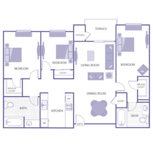 3 bed 2 bath floor plan, kitchen, dining room, living room, terrace and storage, 2 walk-in closets, 2 closets